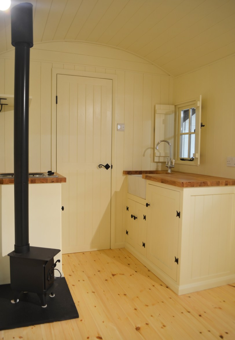 Kitchen in a White Peak Shepherd Hut