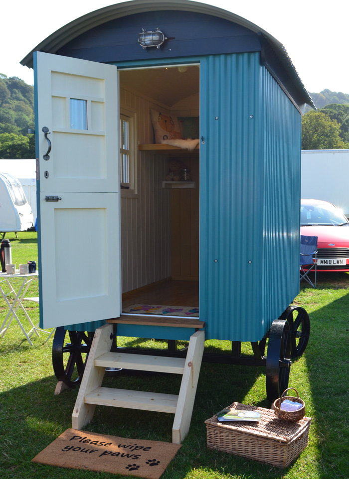 Pretty blue shepherd hut