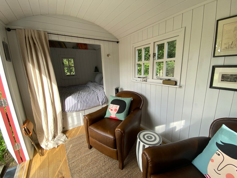 Interior of shepherd hut