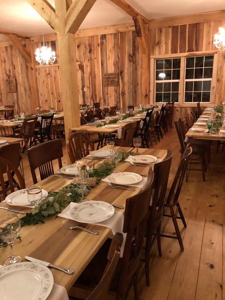 Tables set for an evening reception