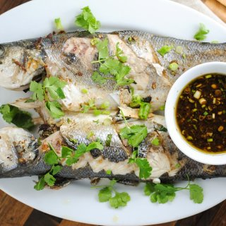 Grilled branzino with soy-ginger sauce