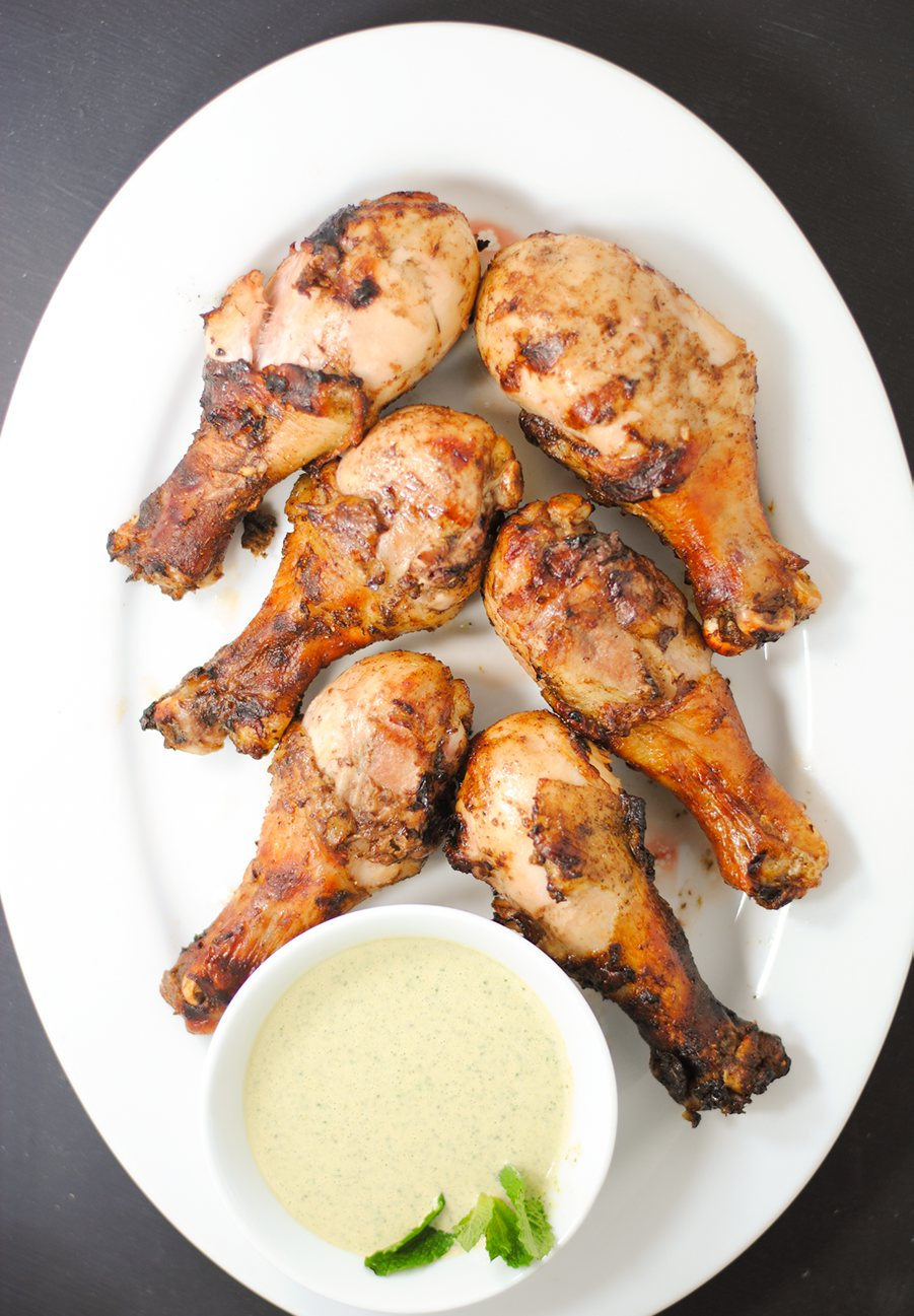 Indian-spiced grilled chicken with mint-tahini sauce ...