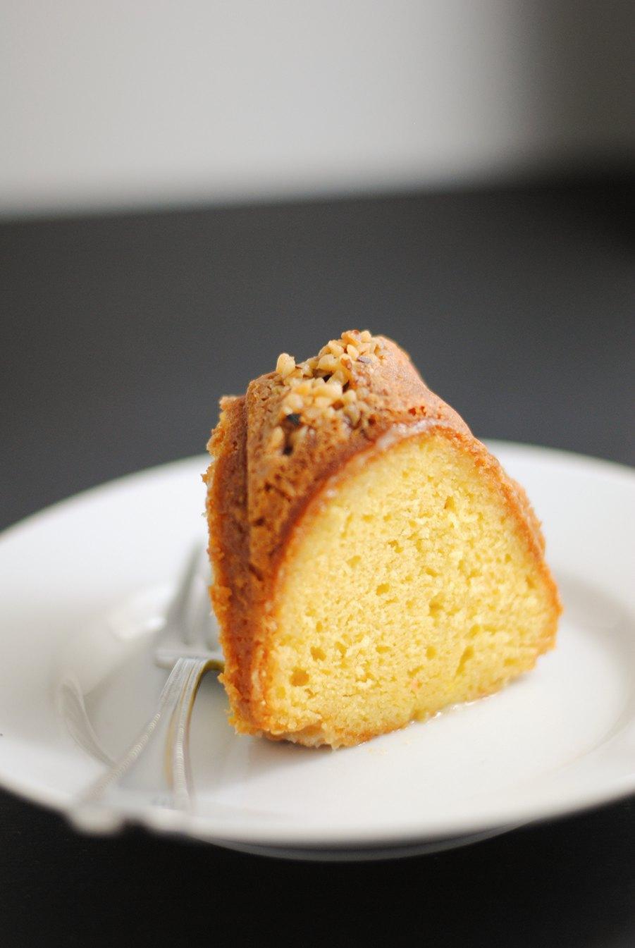 Slice of rum cake