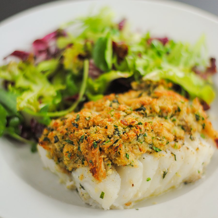 Baked cod with crab and herb crust