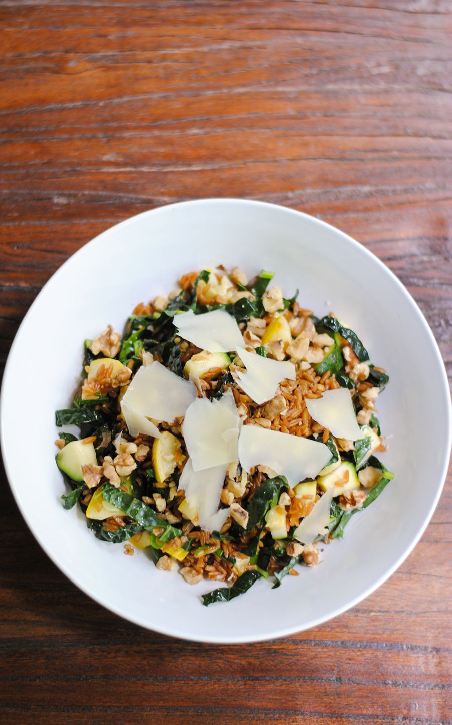 Farro salad with summer squash, kale and Parmesan