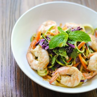 Zoodles and shrimp with spicy peanut dressing