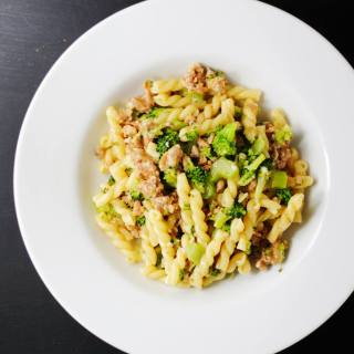 Broccoli pasta with sausage and Parmesan