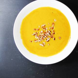 Moroccan-spiced squash soup with toasted pecans