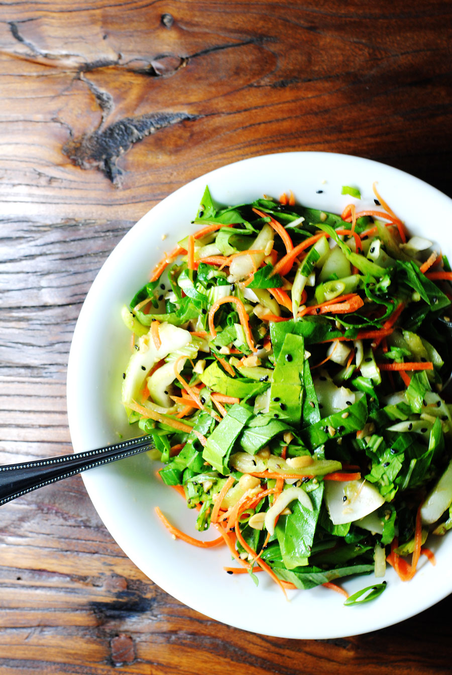 Bok Choy Salad With Garlic Sesame Dressing White Plate Blank Slate