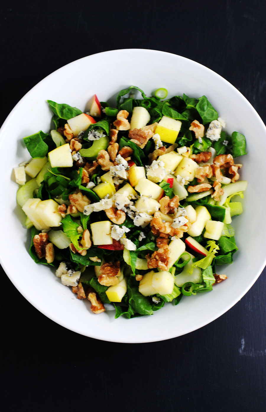 Chard Salad With Blue Cheese Walnuts And Apples White Plate Blank Slate