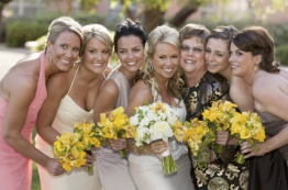 Bridal party with wedding flowers