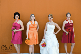 Jason Wedding-Bridal party with bright daisy bouquets