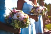 Garden style bouquets featuring dahlia, ranunculus and hydrangea