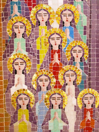 Detail of mosaic icon in the courtyard. Coptic Hanging Church of Cairo