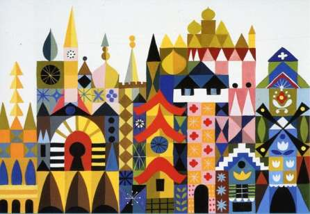 "Concept for ""It's a Small World"" by Mary Blair - in Murder At Malone Manor inspiration post by Matt McDyre"