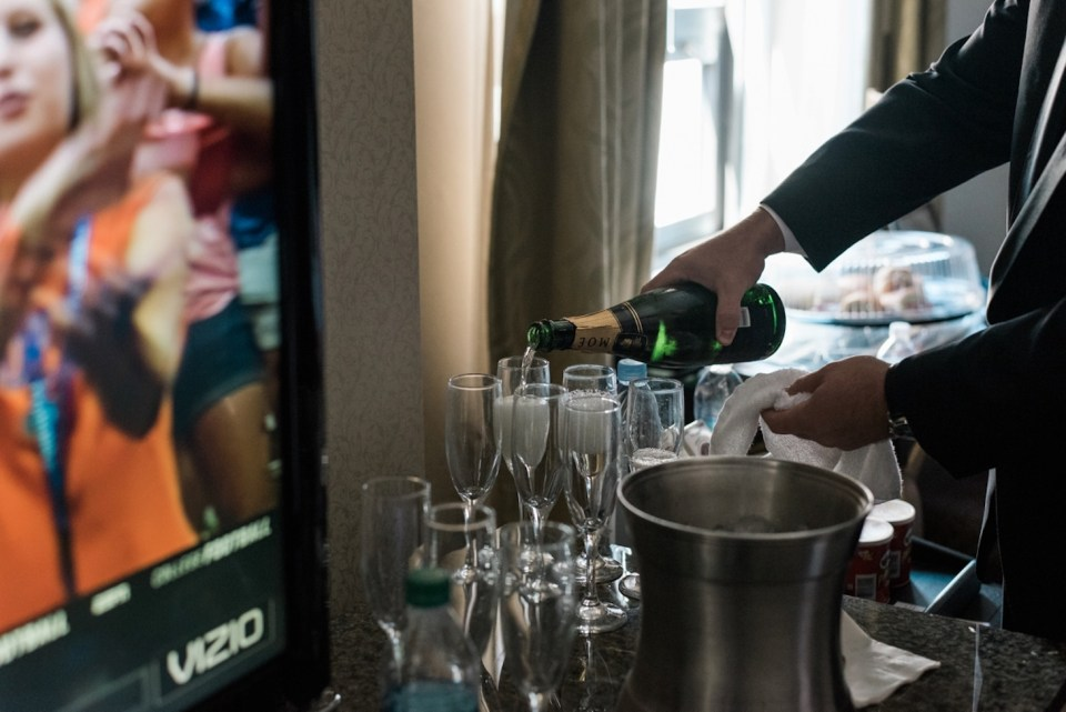 Pouring champagne at the Palmer House in Chicago IL