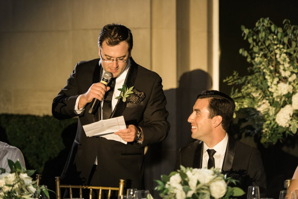 Brother of the groom gives a toast
