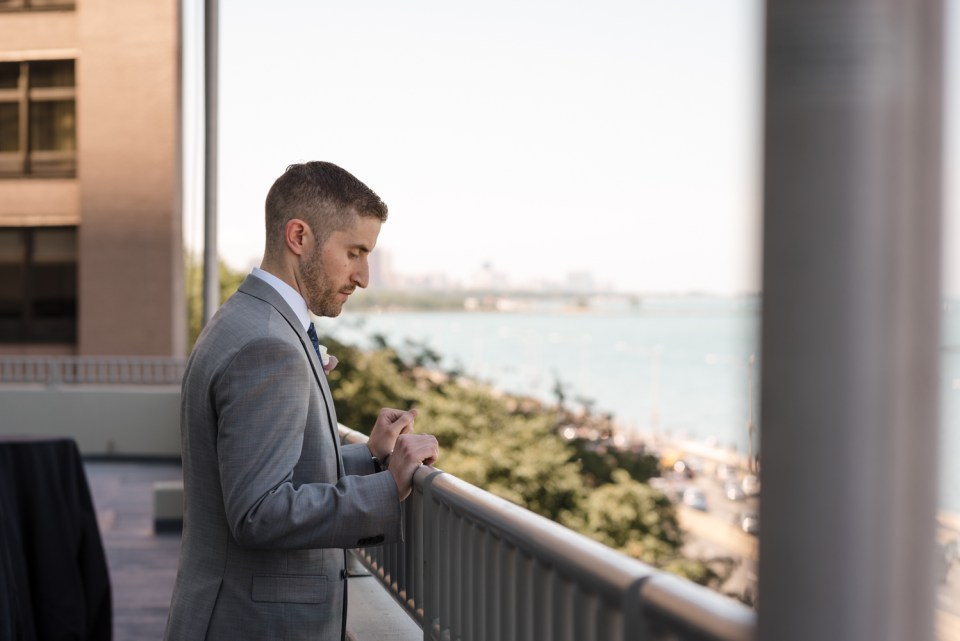 Groom waiting to see the Bride for the first time on their wedding day at the W Hotel Lakeshore