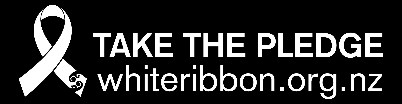 White Ribbon Take the Pledge logo lockup (for use on black) lockup 2013 copy