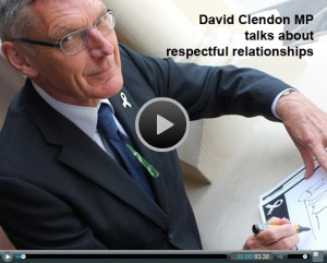 David Clendon MP signs the White Ribbon Pledge