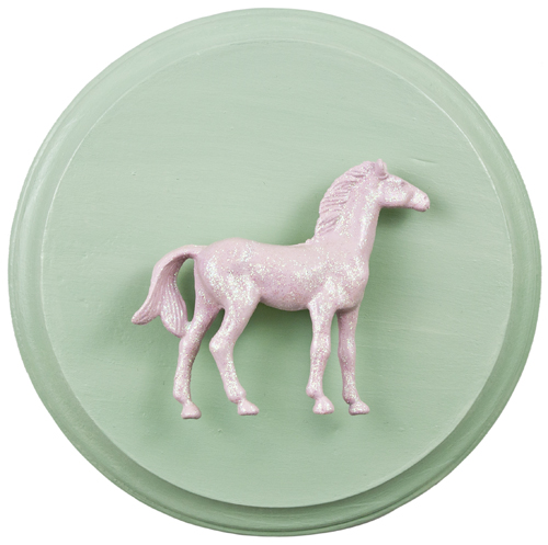 Pink Horse on Mint (WhiteRosesArt.com)