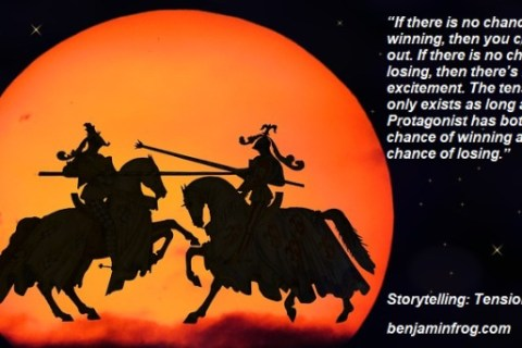 Two knights jousting in silhouette with orange moon in background