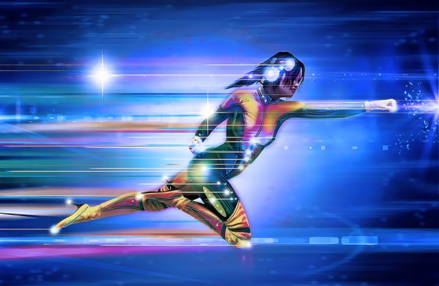 A science fiction female robot running fast.