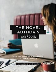 The Novel Author's Workbook cover with a woman working on her laptop.
