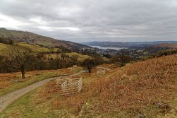 Looking down path with Ambleside and Windermere in the distance