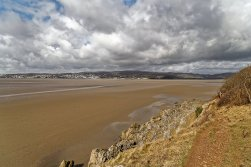 Coastal path with Grange-Over-Sands in the background