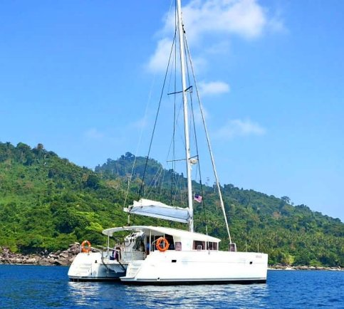 An exterior view of White Sail's catamaran, SunRise