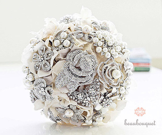 Non Floral Wedding Bouquets White Satin Weddings