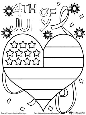 4th of july heart flag coloring page drawing painting