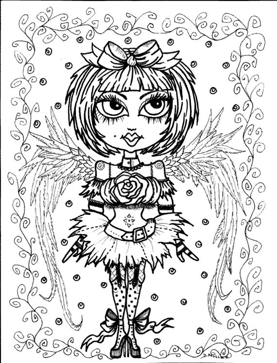 5 pages instant download 5 coloring pages gothic angels color book art digitaldigi stampgothdigital coloring