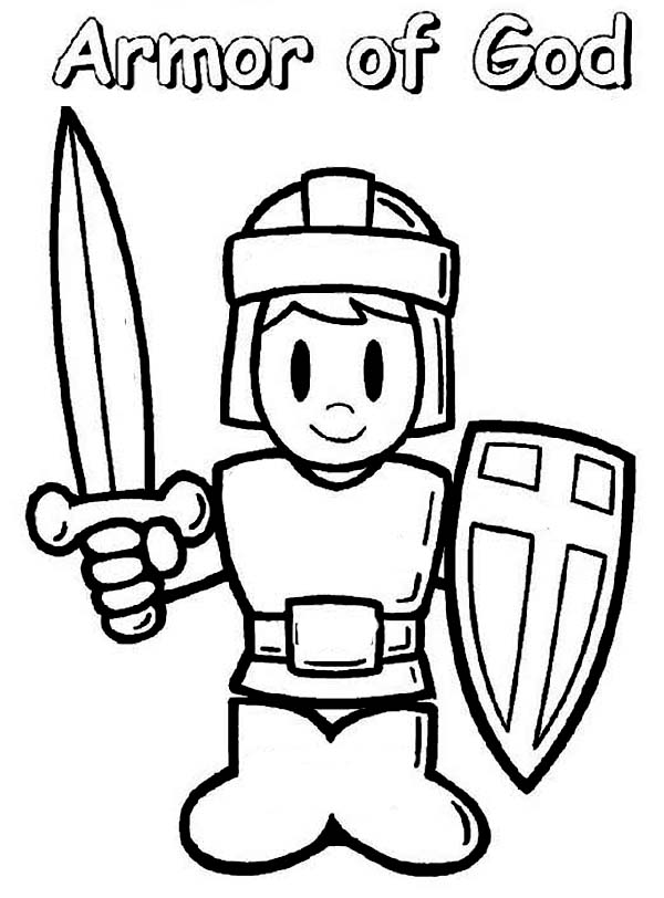 a boy wearing armor of god coloring page coloring sun