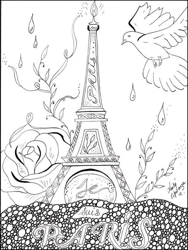 adult coloring page peace for paris coloring pages