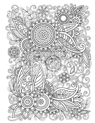 adult coloring page with oriental floral pattern black and