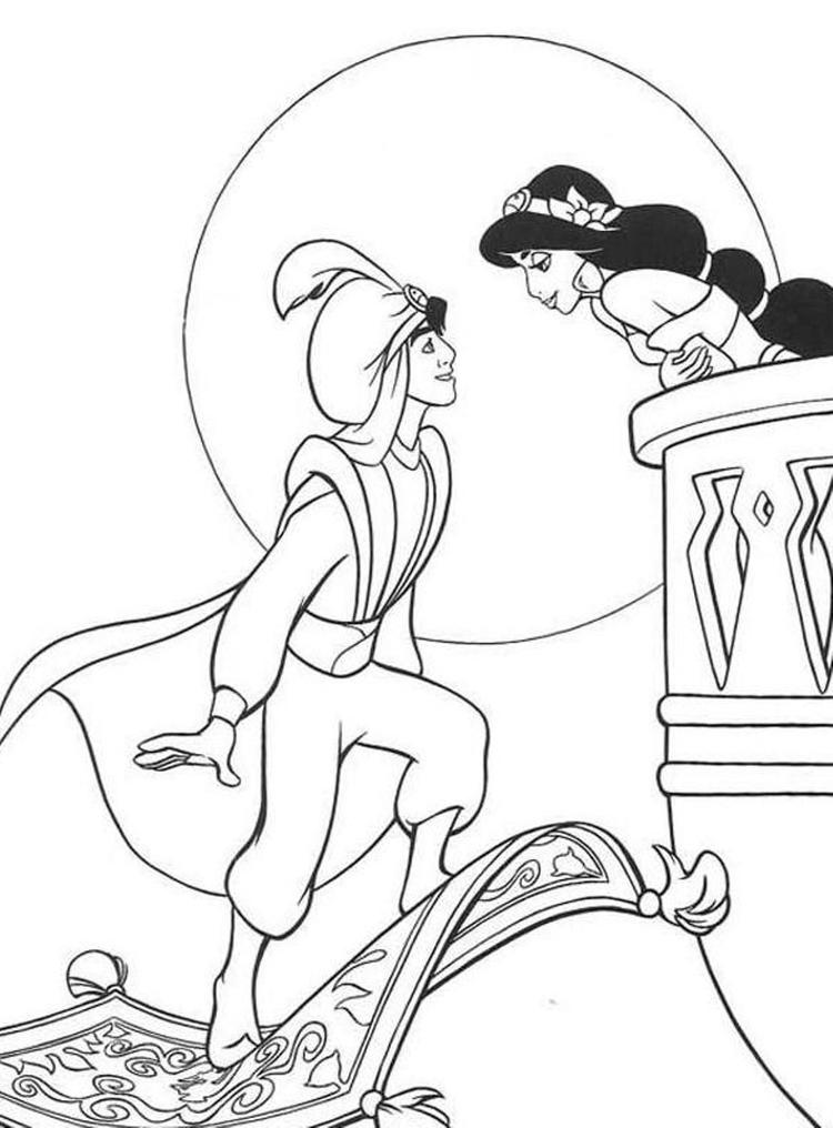 aladdin coloring pages aladdin and princess jasmine fun