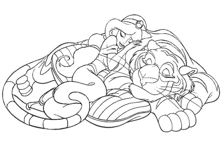 aladdin coloring pages jasmine and rajah fun for kids