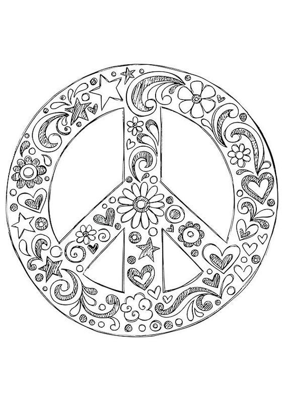 american hippie coloring page zentangle art peace