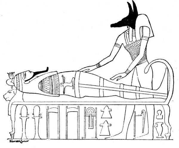 ancient egypt coloring pages anubis with a mummy