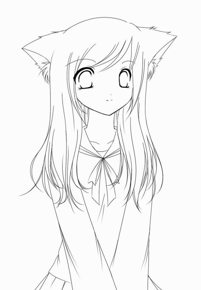 anime coloring pages easy cartoon drawings cartoon girl