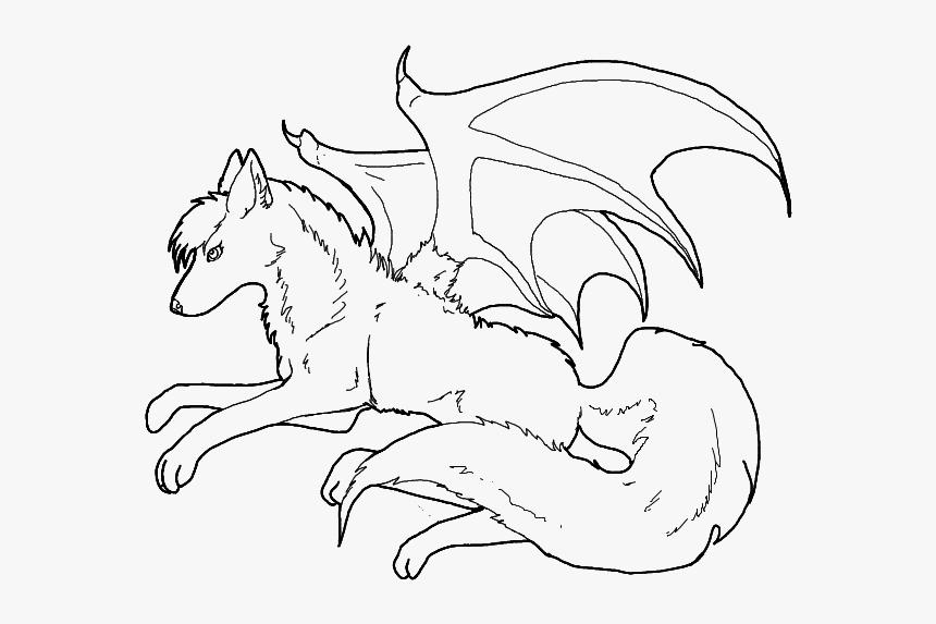 anime wolf coloring pages to print wolves with wings line