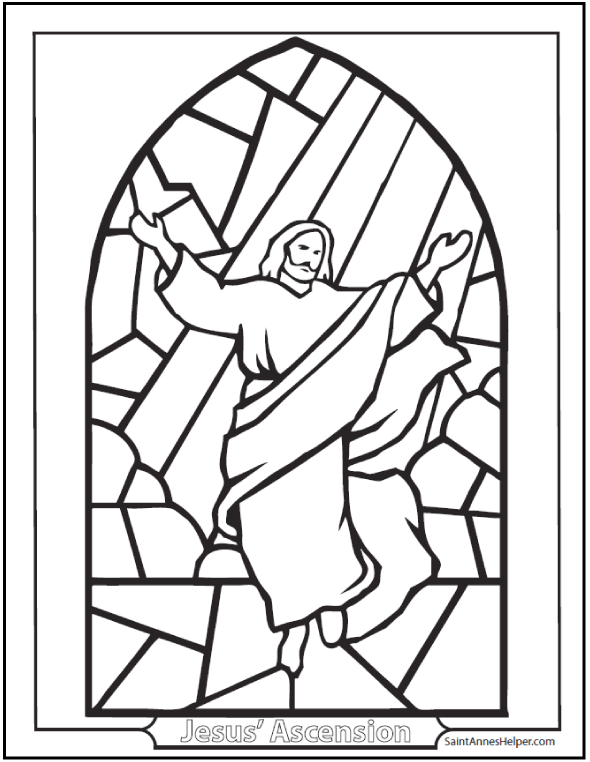 ascension coloring page jesus ascending stained glass