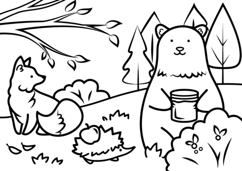 autumn animals coloring page free printable coloring pages