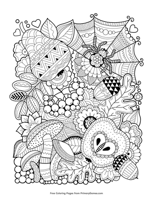 autumn zentangle coloring page free printable pdf from