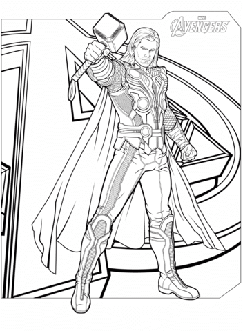 avengers thor omalovnka free printable coloring pages