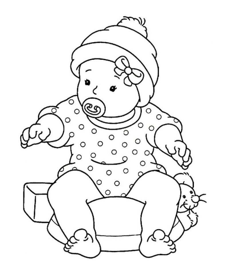 ba girl sitting with pacifier ba coloring pages