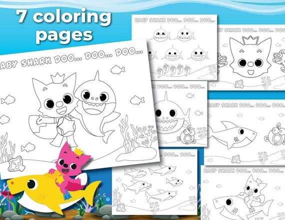 ba shark coloring pages printable digital file instant download non personalized