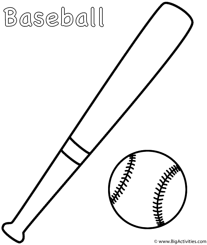 baseball and bat coloring page sports